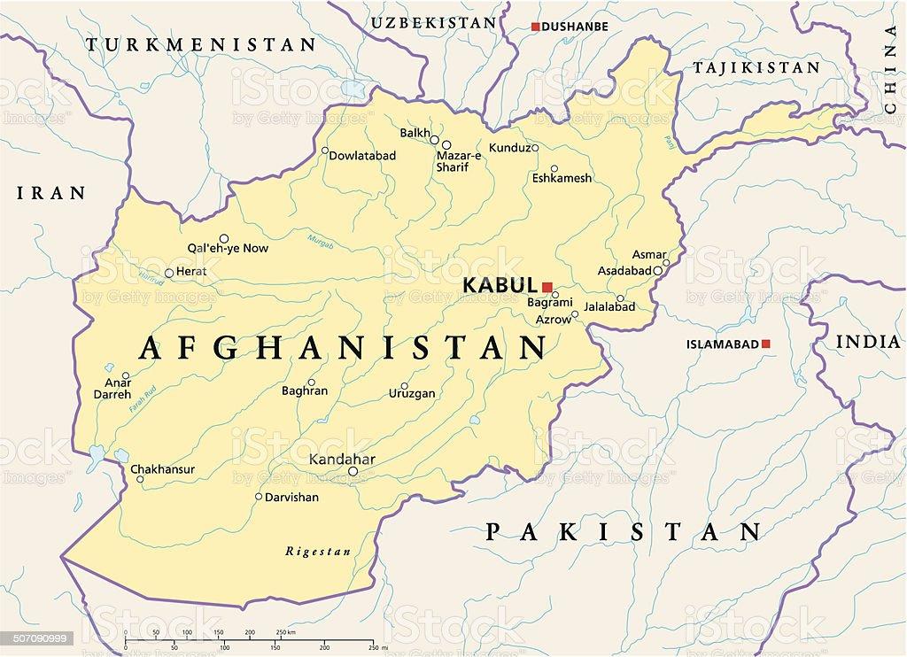 Mapa político do Afeganistão - ilustração de arte em vetor