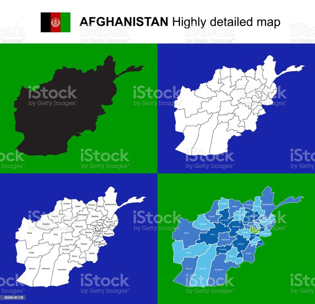 Karte Afghanistan Provinzen.Afghanistan Sehr Detaillierte Politische Vektorkarte Mit