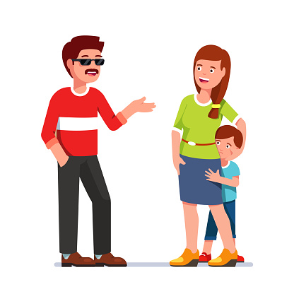 Afraid boy hiding behind talking mother. Stranger with moustache and sunglasses. Flat isolated vector