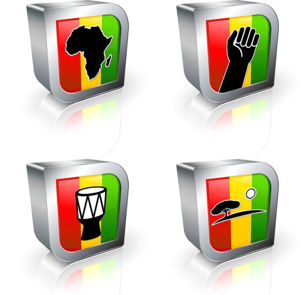 아프리카 3d royalty free 벡터 아이콘 세트 - black power stock illustrations