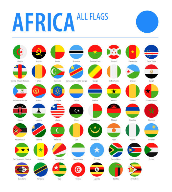 africa all flags - vector round flat icons - senegal stock illustrations