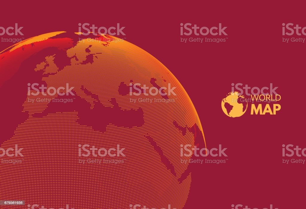 Africa and Europe. Earth globe. Global business marketing concept. Dotted style. Vector illustration. vector art illustration