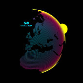 Africa and Europe. Earth globe. Global business marketing concept. Dotted style. Design for education, science, web presentations.
