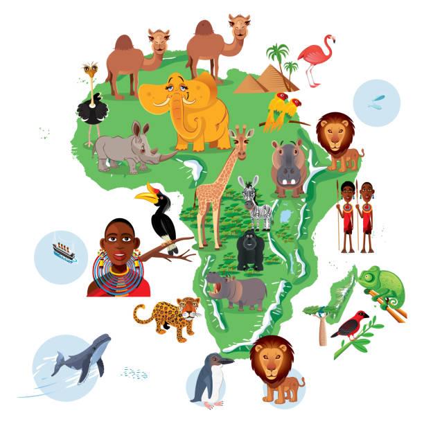 ilustrações, clipart, desenhos animados e ícones de mapa de animais de áfrica - mapa do oriente médio