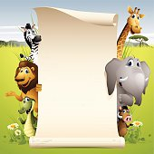 - cartoon illustration of africa animals with paper scroll