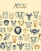 Africa animal faces seamless pattern