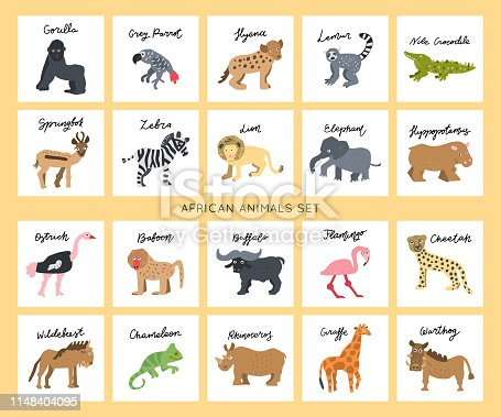 African safari animals clipart vector set. Hand drawn elements in paper-cut style. Nature inspired simple geometry shapes, textured illustration.Big bundle.