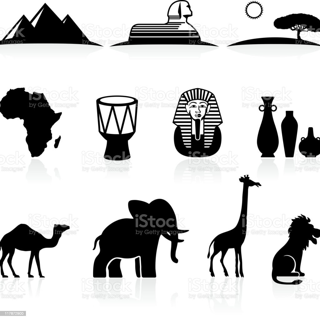 Africa black and white royalty free vector icon set vector art illustration