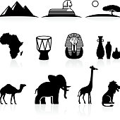 Africa black and white royalty free vector icon set
