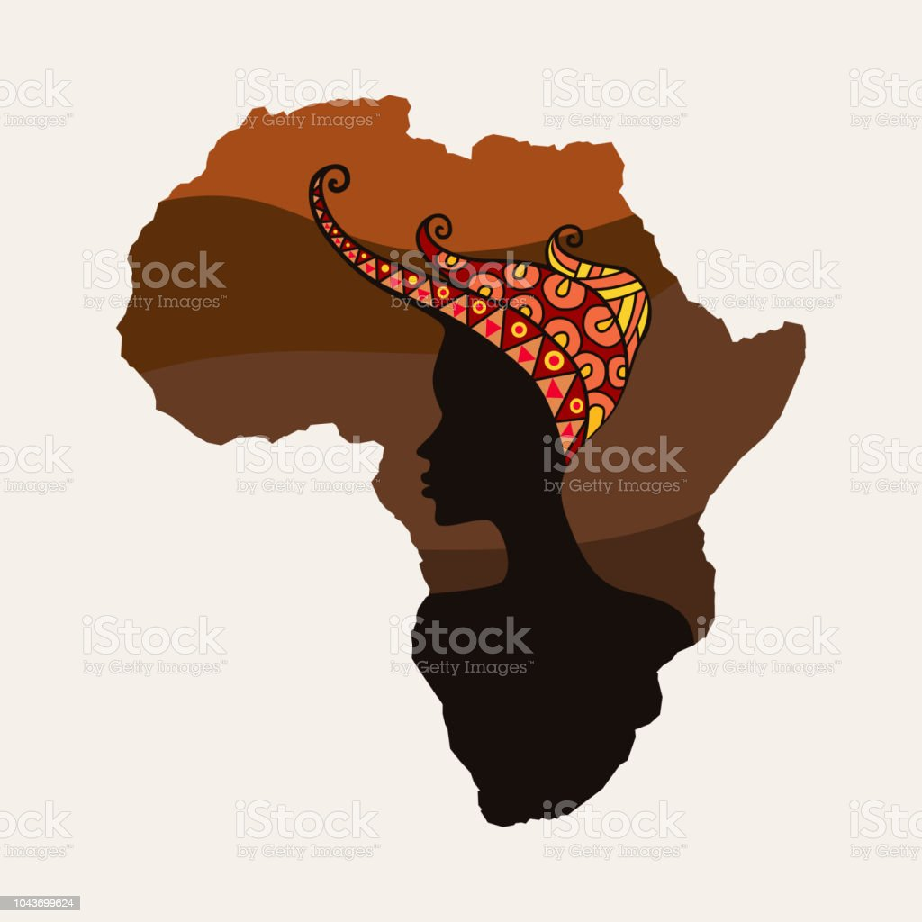 Africa continent and woman silhouette. vector art illustration