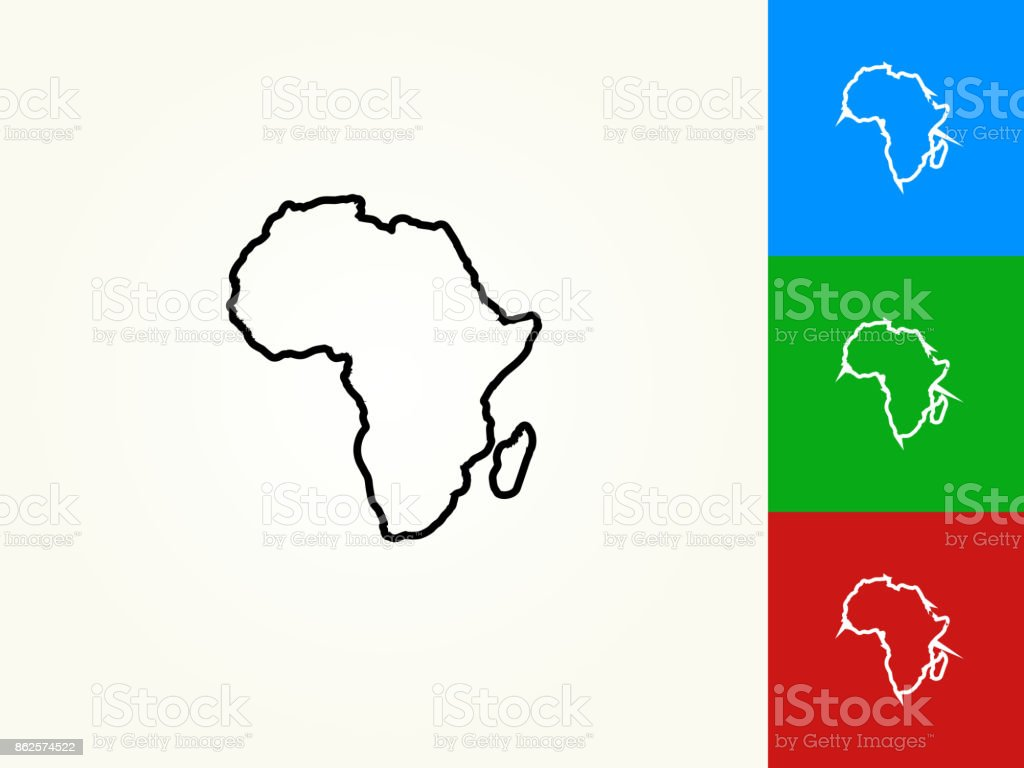 Africa Continent Black Stroke Linear Icon vector art illustration