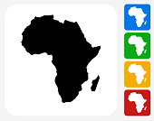Africa Continent Icon. This 100% royalty free vector illustration features the main icon pictured in black inside a white square. The alternative color options in blue, green, yellow and red are on the right of the icon and are arranged in a vertical column.