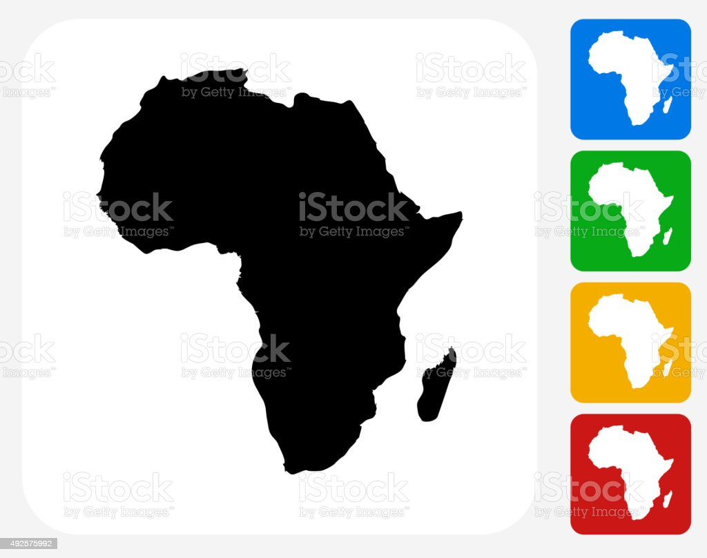 Africa Continent Icon Flat Graphic Design vector art illustration