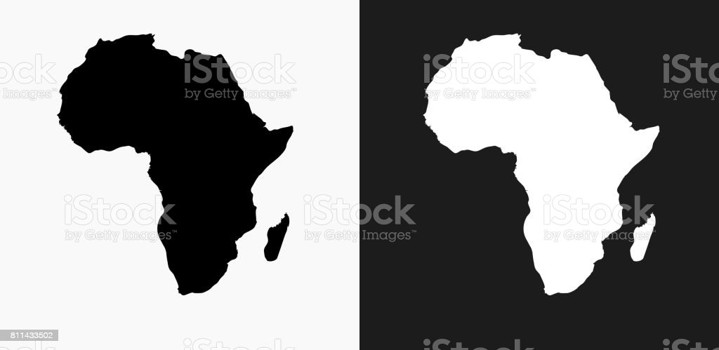 Africa Continent Icon on Black and White Vector Backgrounds vector art illustration