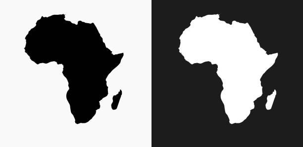 非洲大陸圖示在黑色和白色向量背景上 - africa 幅插畫檔、美工圖案、卡通及圖標