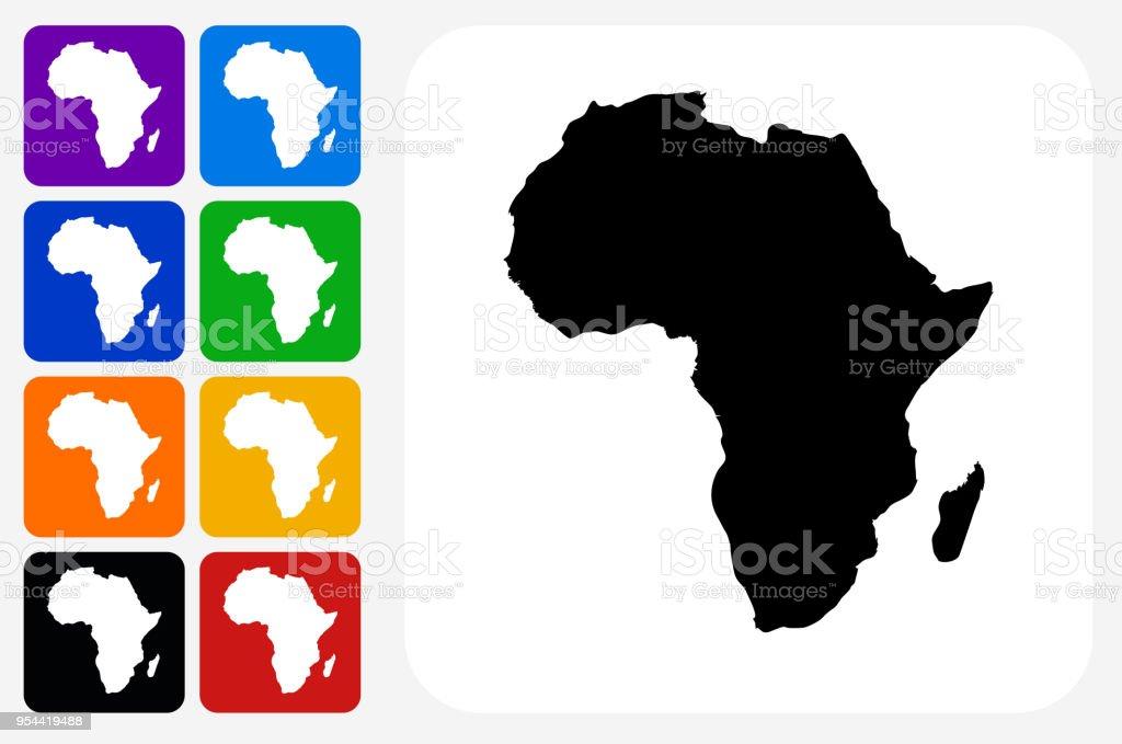 Afrika-Kontinent Symbol Square Buttonset – Vektorgrafik