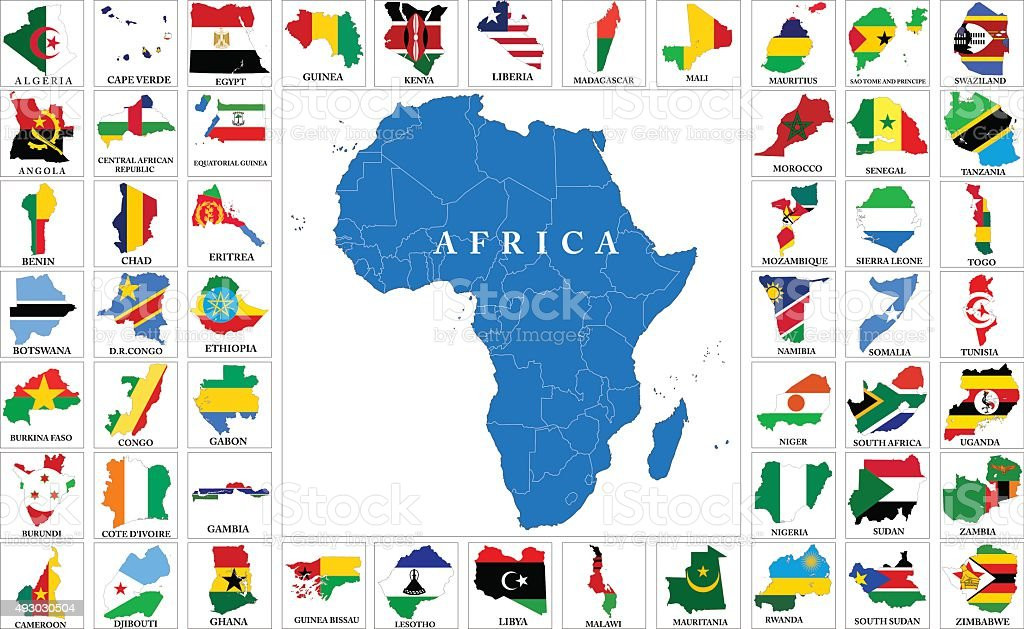 Africa Countries Flag Maps Stock Vector Art & More Images of 2015 ...