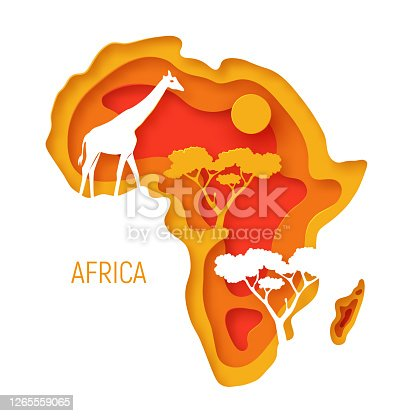 istock Africa. Decorative 3d paper cut map of Africa continent with wild animals silhouettes. 3d paper cut eco friendly design. Vector illustration 1265559065