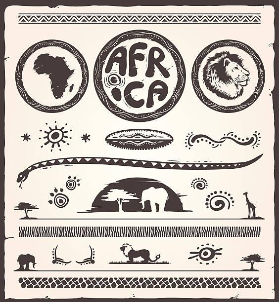 stockillustraties, clipart, cartoons en iconen met africa design elements - safari