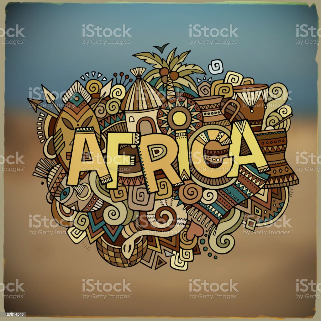 Africa ethnic hand lettering and doodles elements vector art illustration