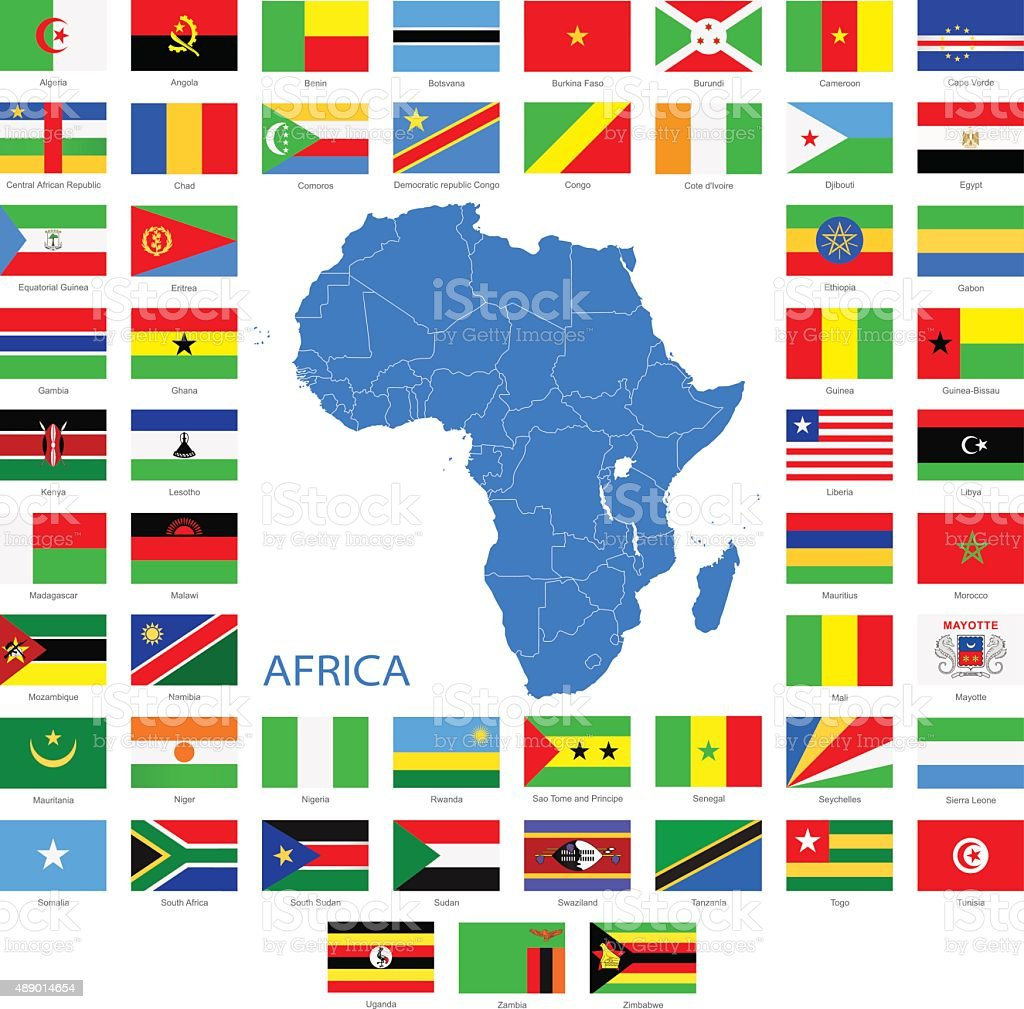 Africa   Flags And Map   Illustration Royalty Free Africa Flags And Map  Illustration Stock