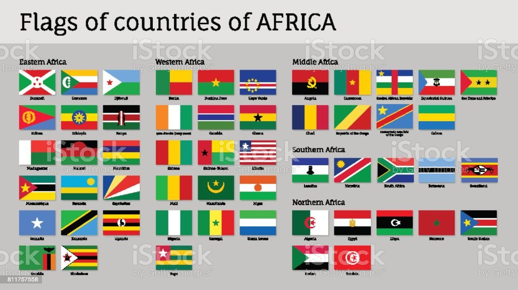 Banderas de África gran conjunto - ilustración de arte vectorial