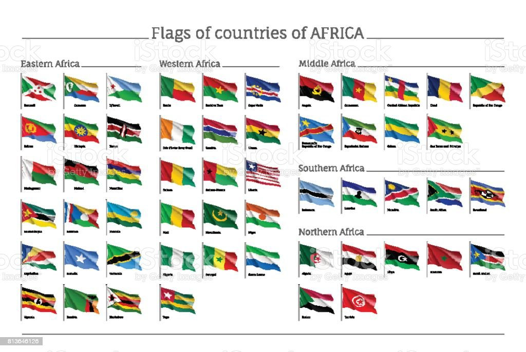Africa flags big set vector art illustration