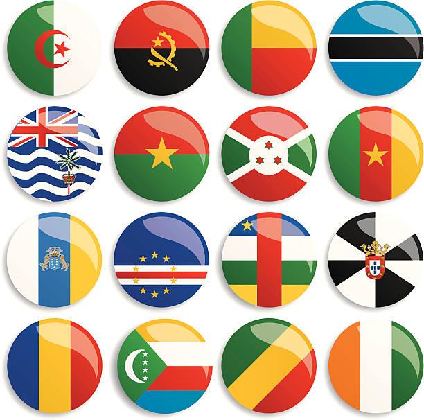 ilustrações de stock, clip art, desenhos animados e ícones de áfrica bandeiras botões - cabo verde