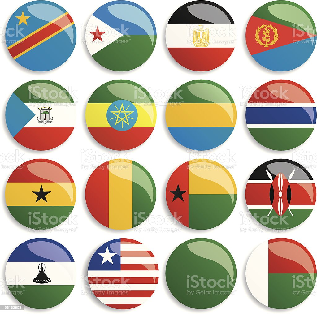 Africa flags buttons vector art illustration