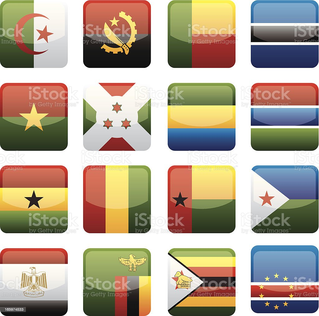 Africa Flags Collection vector art illustration