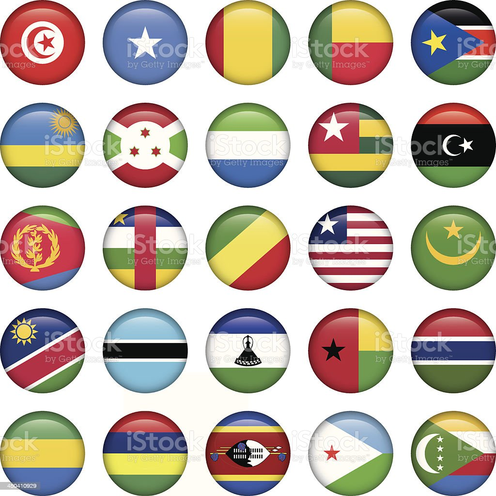 Africa Flags Round Buttons vector art illustration