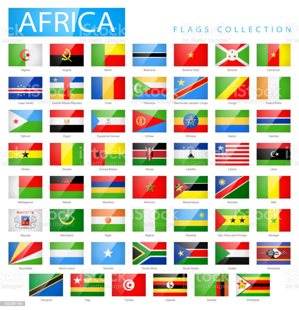 Africa - Flat Glossy Rectangle Flag Icons - Illustration vector art illustration
