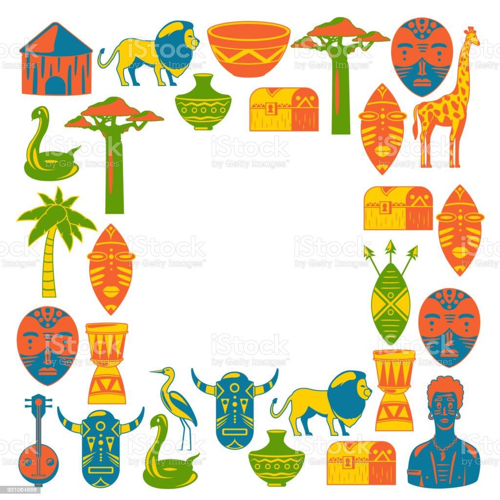 Ilustración de África Marco Para Cartel Viajar A Iconos étnicos De ...