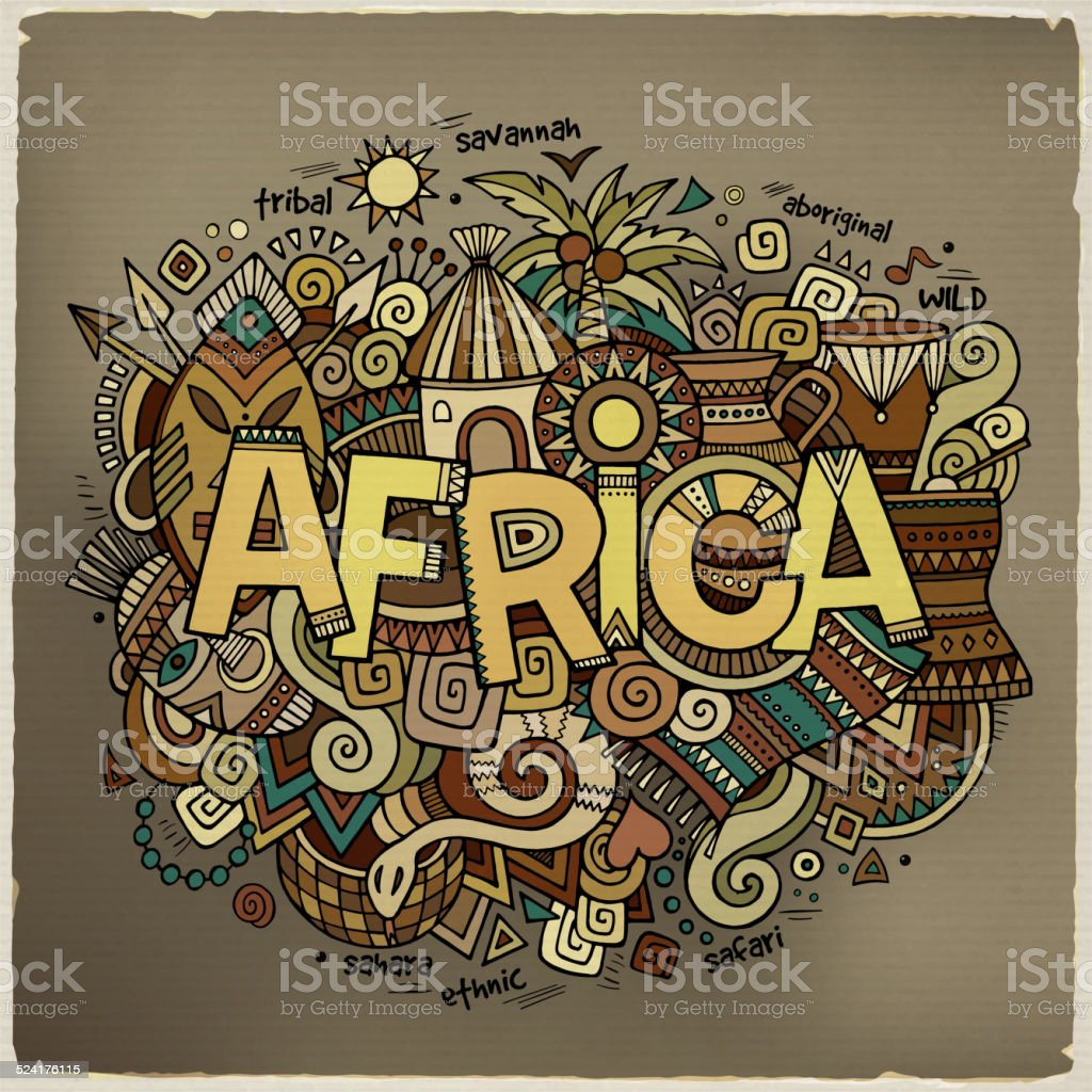 Africa hand lettering and doodles elements background vector art illustration