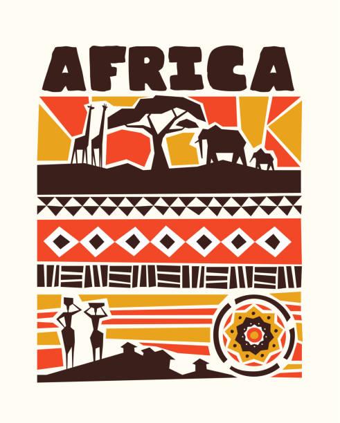 ilustraciones, imágenes clip art, dibujos animados e iconos de stock de africa ilustración de animales y arte tribal - viaje a áfrica