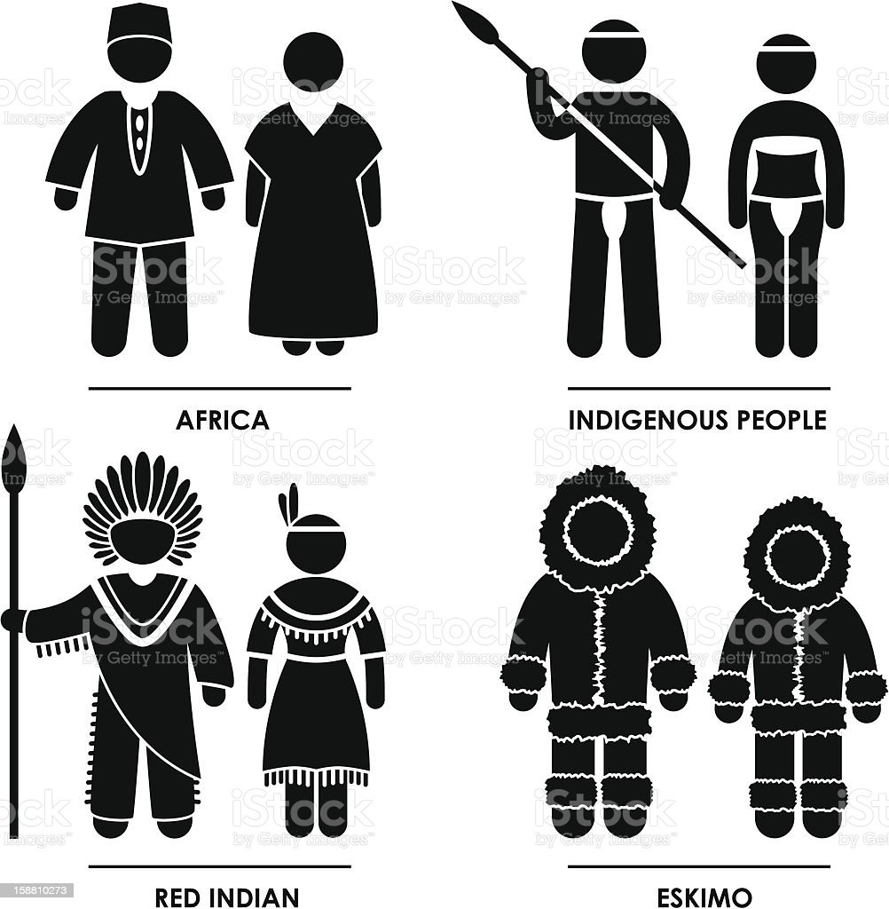 Africa Indian Eskimo Pictogram royalty-free stock vector art