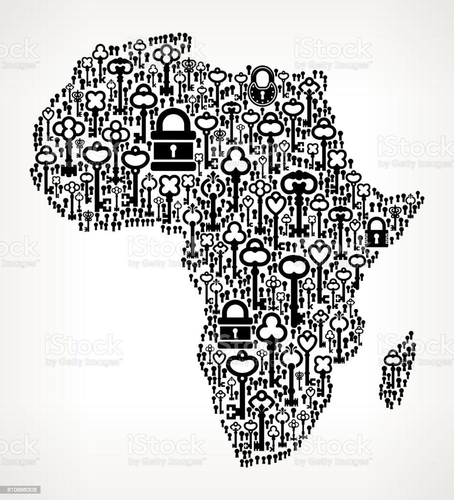 Africa key and lock antique black white graphic illustration