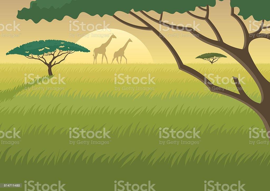 Africa Landscape vector art illustration
