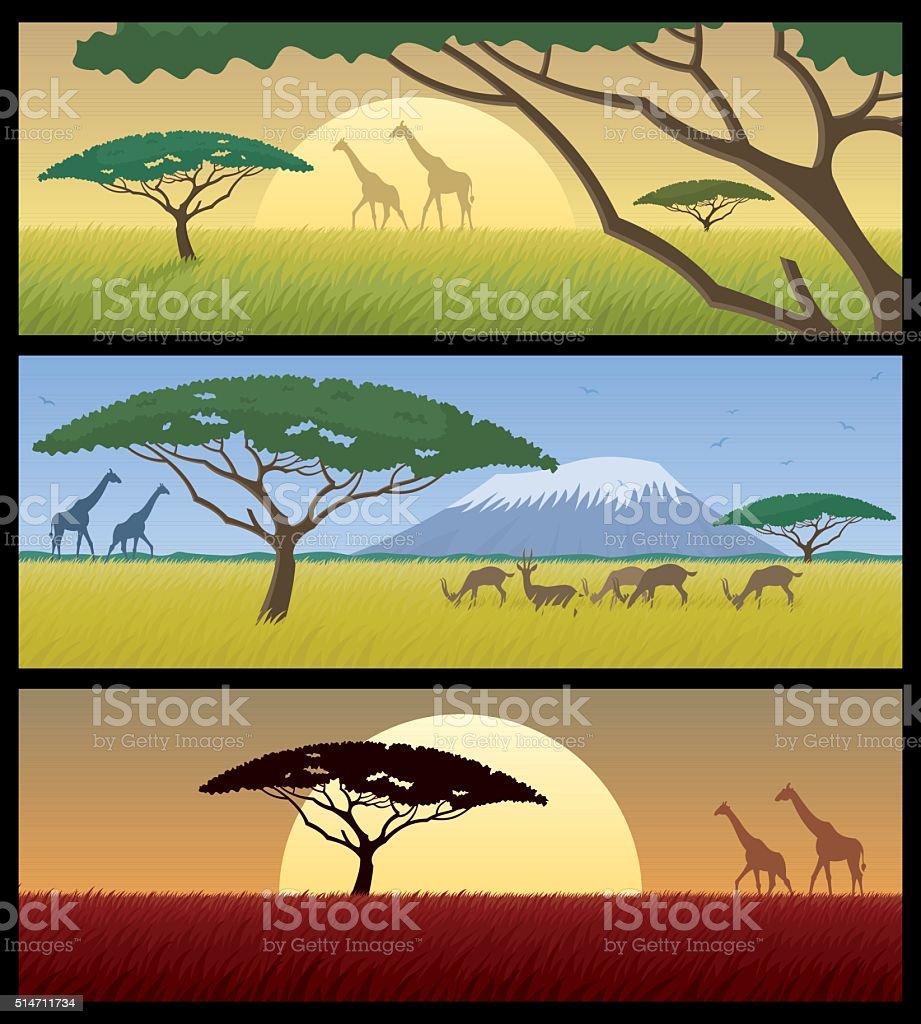Africa Landscapes vector art illustration