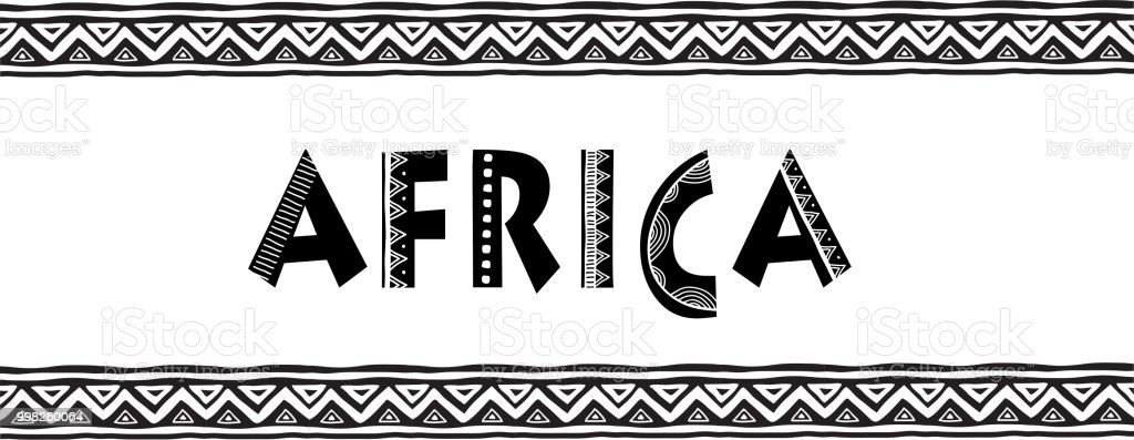 africa letters banner with tribal traditional pattern concept design