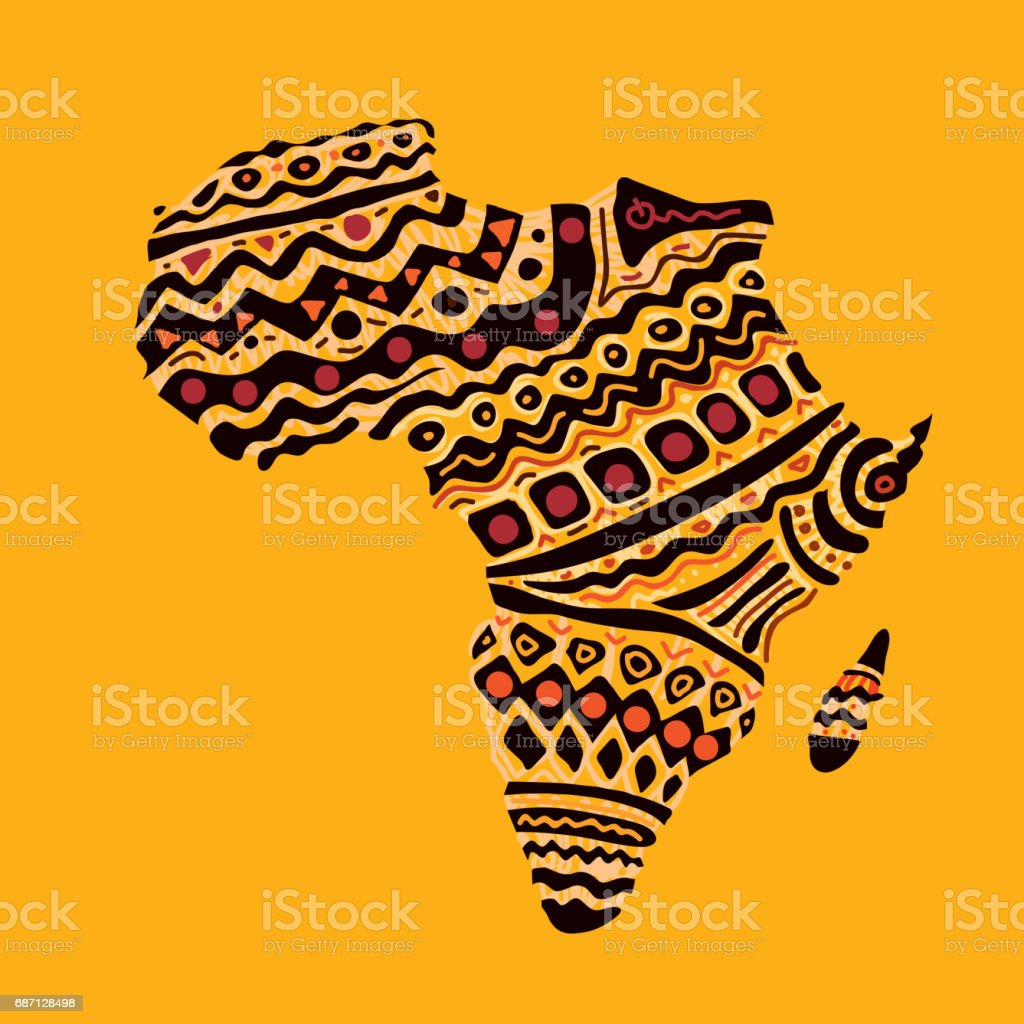 Shape Of Africa Map.Africa Map African Warm Colors Stock Vector Art More Images Of