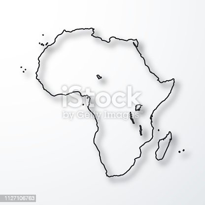 Map of Africa created with a thin black outline and a shadow, isolated on a blank background. Vector Illustration (EPS10, well layered and grouped). Easy to edit, manipulate, resize or colorize. Please do not hesitate to contact me if you have any questions, or need to customise the illustration. http://www.istockphoto.com/portfolio/bgblue