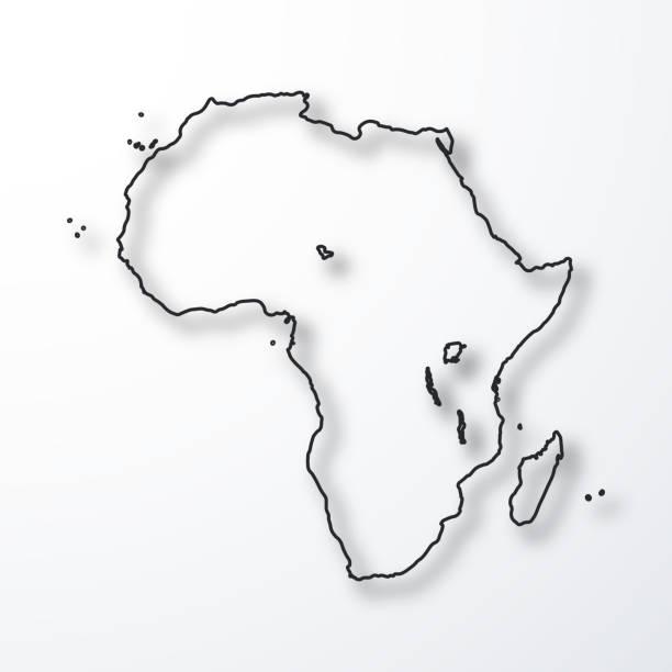 ilustrações de stock, clip art, desenhos animados e ícones de africa map - black outline with shadow on white background - cabo verde