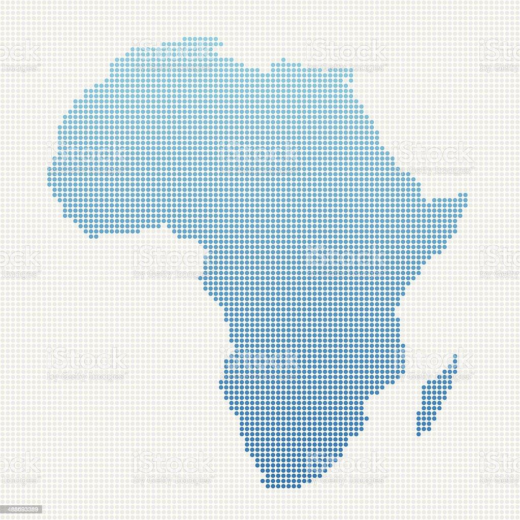 Africa Map Blue Dot Pattern vector art illustration