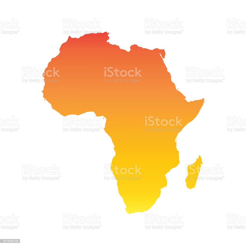 Africa map. Colorful orange vector illustration vector art illustration