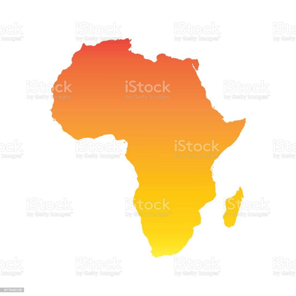 Mapa de África. Ilustración colorido vector naranja - ilustración de arte vectorial