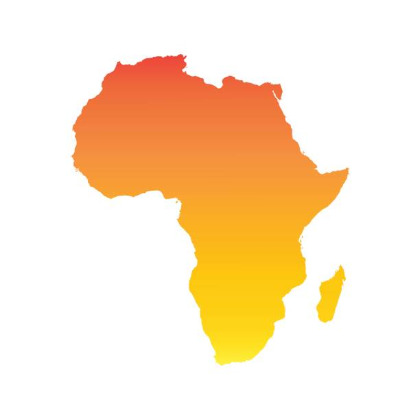 非洲地圖。炫彩的橙色向量圖 - africa 幅插畫檔、美工圖案、卡通及圖標