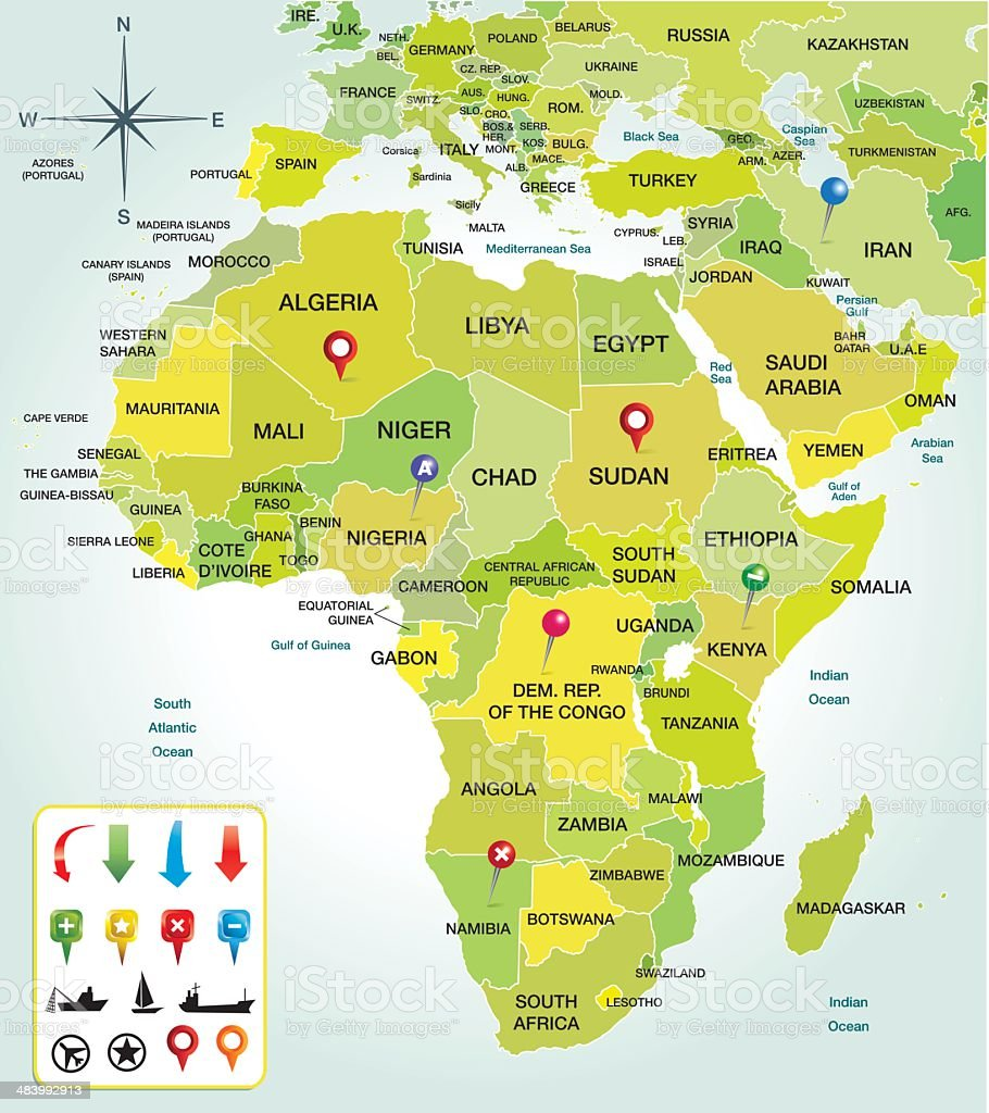 Africa map colorfull royalty-free stock vector art