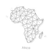 Africa map created with a mesh of thin black lines and a light shadow, isolated on a blank background. Conceptual illustration of networks (communication, social, internet, ...). Vector Illustration (EPS10, well layered and grouped). Easy to edit, manipulate, resize or colorize.