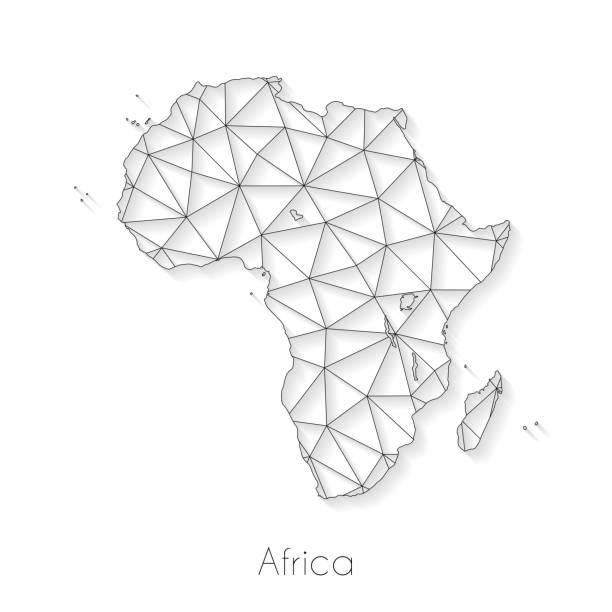 ilustrações de stock, clip art, desenhos animados e ícones de africa map connection - network mesh on white background - cabo verde